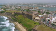 WS AERIAL POV View of Castillo San Cristobal fortress / Old San Juan, Puerto Rico, United States
