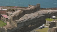 WS AERIAL POV ZI View of Castillo San Cristobal fortress / Old San Juan, Puerto Rico, United States