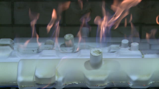 MS View of casting mold burning in oven / Langenfeld, North Rhine-Westphalia, Germany
