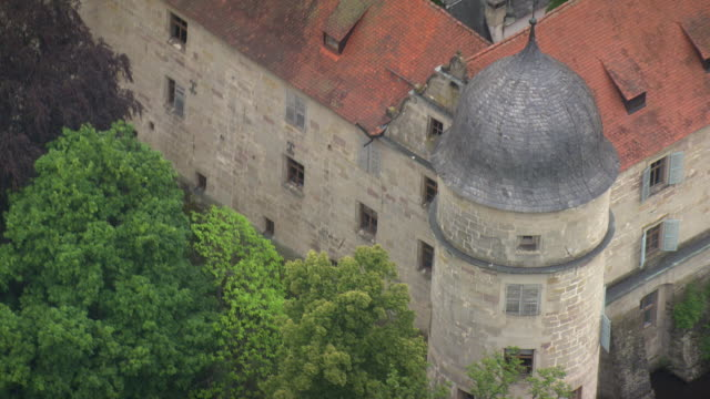 MS AERIAL ZO View of castle in village / Germany