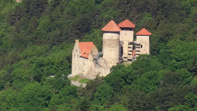 WS AERIAL View of castle Treffurt / Germany