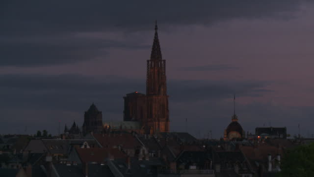 WS View of cathedral notre dame at night / Strasbourg, Alsace, France