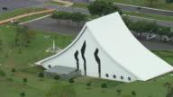 WS AERIAL View of Cathedral Rainha da Paz / Brasilia, Brazil