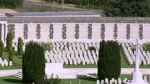 MS AERIAL ZO ZI PAN DS View of Cemetery Passendale / Flanders, Belgium