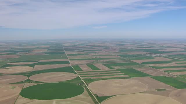 WS AERIAL View of Center pivot irrigation fields northwest of Alliance / Alliance, Nebraska, United States
