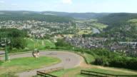 WS View of chairlift with river Saar / Saarburg, Rhineland Palatinate, Germany
