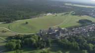 WS AERIAL PAN View of Chantilly castle racecourse / Picardy, France