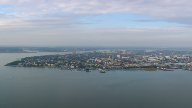 WS AERIAL View of Charleston city on lake / South Carolina, United States
