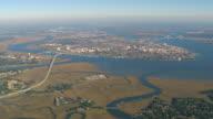 WS AERIAL View of Charleston city / South Carolina, United States