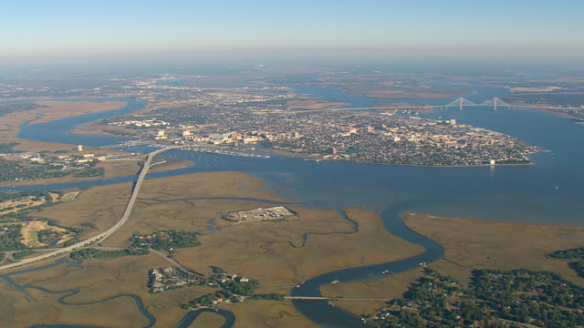 WS AERIAL View of Charleston city / South Carolina, United States
