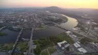 WS AERIAL View of Chattanooga and Tennessee River with Lookout Mountain / Chattanooga, Tennessee, United States