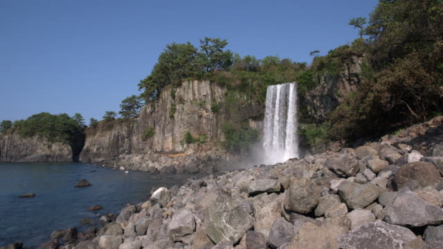 View of Cheonjeyeon Falls (popular tourist attraction) and surrounding landscape