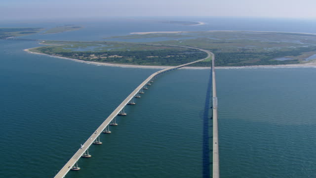 WS AERIAL ZI ZO View of Chesapeake Bay Bridge Tunnel / Virginia, United States