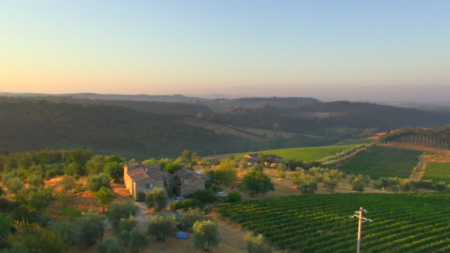 WS AERIAL DS View of Chianti vinyards and traditional tuscan country house at Castello di Brolio / Siena, Tuscany, Italy