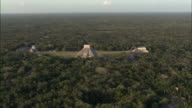 WS POV AERIAL View of Chichen Itza Ruins / Merida, Yucatan, Mexico