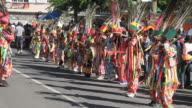 WS View of Childrens carnival costume dancing AUDIO / Charlestown, Nevis, Saint Kitts and Nevis