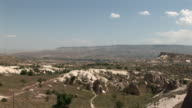 WS PAN View of chimneys landscape / Cappadocia, Nevsehir province, Turkey