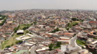 WS ZO View of church Aerial at Brazilian favelas / Sao Paulo, Brazil