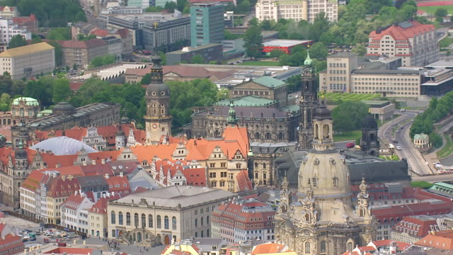 WS AERIAL View of church and cityscape / Dresden, Saxony, Germany