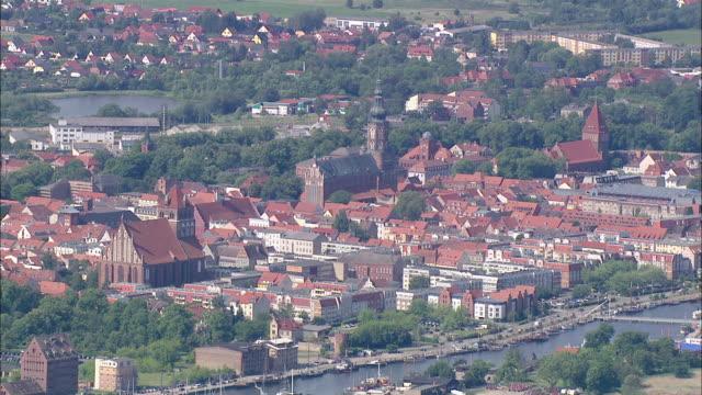 AERAIL WS View of Church at center of city / Ruegen+Greifswald+Lubmin, Mecklenburg-Vorpommern, Germany