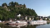 WS View of church St. Laurentius and old town near river Saar / Saarburg, Saar-Valley, Rhineland-Palatinate, Germany
