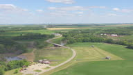 WS AERIAL View of Circle Fort Abercrombie grounds / North Dakota, United States