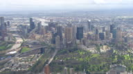 WS AERIAL ZI ZO View of city and AFL stadium / Deniliquin, New South Wales, Australia