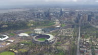 WS AERIAL View of city and AFL stadium / Deniliquin, New South Wales, Australia
