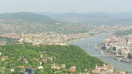 WS AERIAL View of city and old chain bridge / Budapest, Hungary