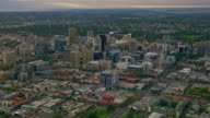 WS AERIAL View of city at sunset / Adelaide, South Australia, Australia