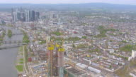 WS AERIAL View of city capitol / Frankfurt Main, Hesse, Germany
