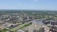 WS AERIAL POV View of city / Cedar Rapids, Iowa, United States