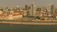 WS AERIAL View of city from Luanda bay (1) / Luanda, Angola
