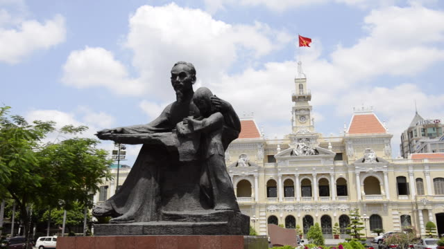 WS View of City Hall and Ho Chi Minh Statue / Ho Chi Minh, Vietnam