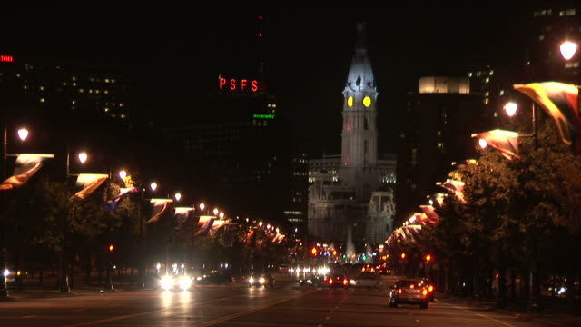 View of City Hall clock tower at night in Philadelphia United States