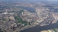 AERIAL WS View of city / Hamburg, Hamburg, Germany