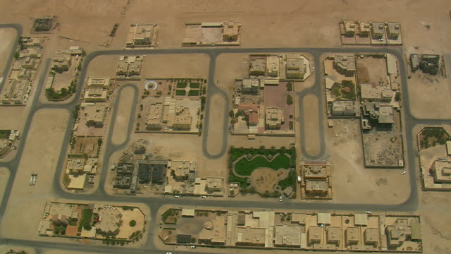 MS AERIAL PAN ZI View of city in desert / Qatar