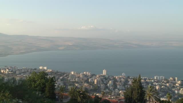 WS PAN View of city in front of Sea / Tiberias, Mechoz haTzafon, Israel
