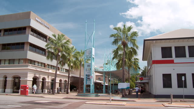 WS PAN View of city mall at Smith street, tourist attraction / Darwin, Northern Territory, Australia