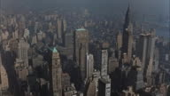 WS AERIAL POV View OF CITY / New York,United States
