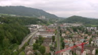 WS AERIAL View of City of adliswil and ober leimbach in lower part of Sihl valley / Wadenswil, Zurich, Switzerland