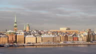 WS View of city roof covered with snow / Stockholm, Fennoscandia, Sweden
