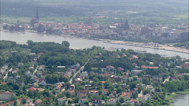 WS AERIAL View of city / Rostock, Mecklenburg Vorpommern, Germany