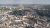 WS View of city scape with Main river / Frankfurt, Hesse, Germany