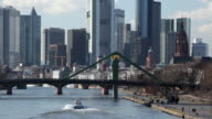 WS View of city skyline and bridge on Main River/ Frankfurt on the Main, Hesse, Germany