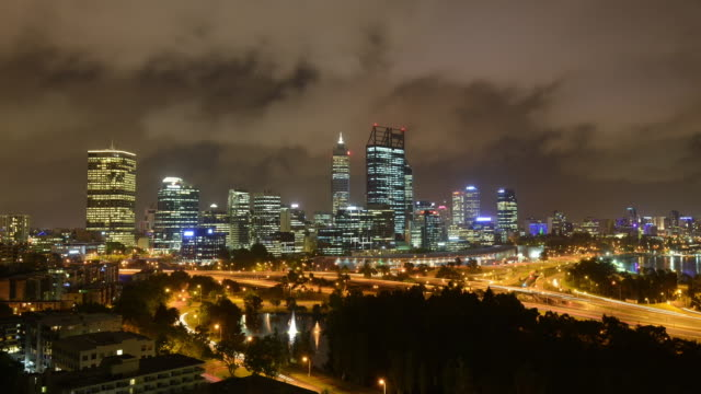 WS T/L View of city street and building at night / Perth, Western Australia, Australia