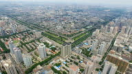 AERIAL View of city wall and city skyline/ Xi'an, Shaanxi, China