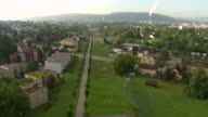 WS AERIAL View of city with airport highway / Opfikon, Zurich, Switzerland