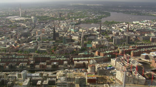 WS AERIAL View of city with Alster lake/ Germany