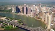 WS AERIAL View of city with bridge / Queensland, Australia